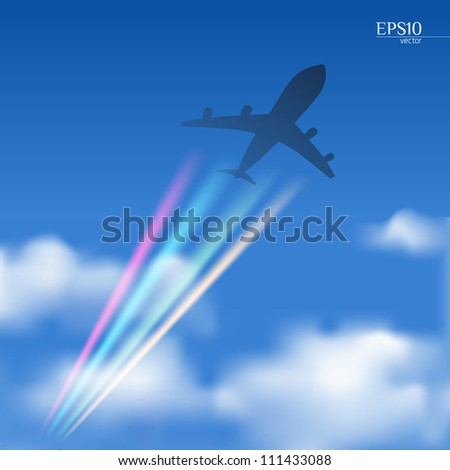 Airplane in a blue sky with clouds and multicolored contrails