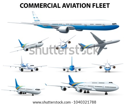 Airplane in different positions for commercial aviation fleet illustration