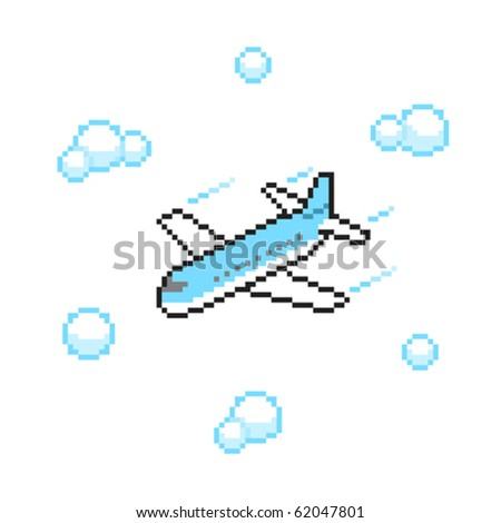 airplane in pixel art style