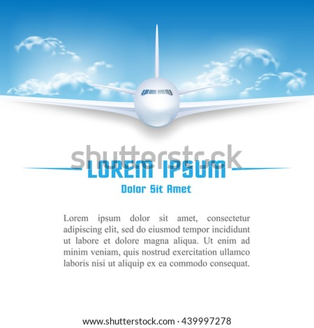 Airplane in sky poster template