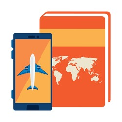 airplane in smartphone with atlas book vector illustration design