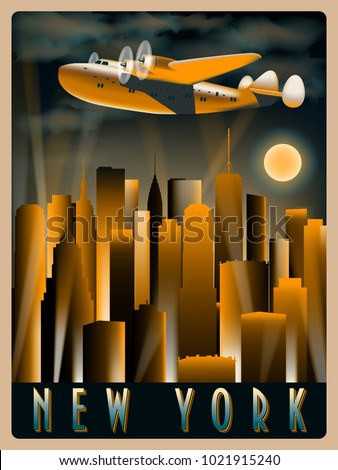 Airplane in the sky over New York at night. Handmade drawing vector illustration. Art Deco Style.