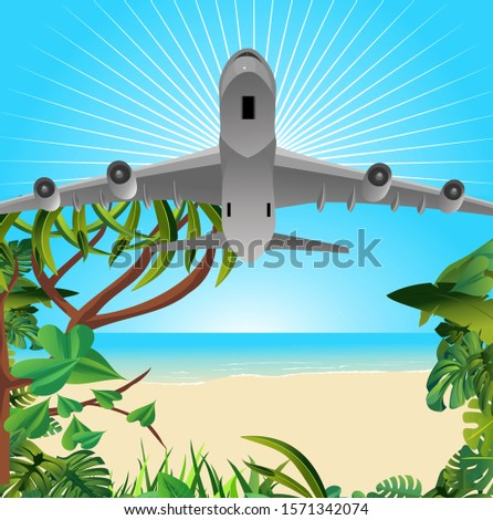 Airplane in the sky, tropical vacation,   for travel and vacation design. Summer time, Vector illustration.