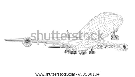 airplane in wire frame style