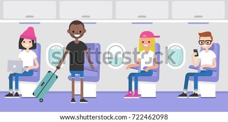 Airplane interior. Passengers boarding on a plane. Flight in the economy class. Flat editable vector illustration, clip art