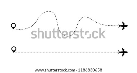 Airplane is in a dotted line. Tourism and travel. The waypoint is for a tourist trip. and his track on a white background. Vector illustration. EPS10.