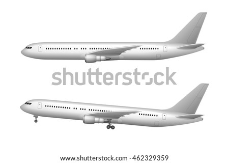 Airplane isolated on white. Realistic airplane taking off and flying. Vector illustration high detailed plane. Airline Concept aircraft Travel Passenger Jet commercial plane set.