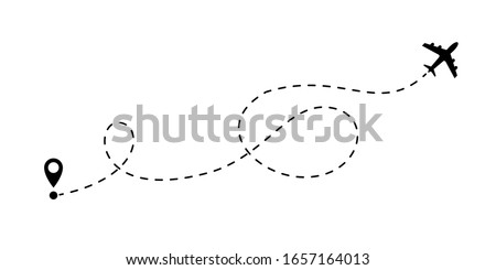 Airplane line flight vector icon. Plane flight route with destination point pin for travel, delivery and logistics dash line design