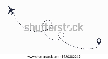 Airplane line path route. Travel vector icon with start point and dash line trace, plane routes flight air dotted drawing isolated illustration