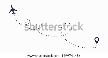 Airplane line path route. Travel vector icon with start point and dash line trace, plane routes flight air dotted map drawing isolated illustration