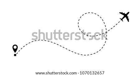 airplane line path vector icon