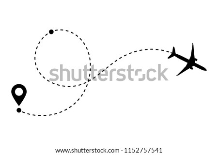 Airplane line path vector icon of air plane flight route with start point, transfer point and dash line trace. Aircraft clip art icon with route path track in black and white. Airplane minimal vector.