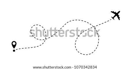 Airplane line path vector icon of start point and dash line trace for air trip or travel