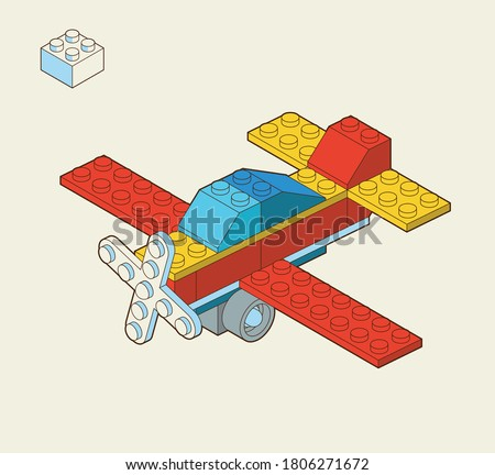 Airplane made by blocks. Toy building block, bricks for children. Vector isometric illustration. Colored bricks isolated on background. Сток-фото ©