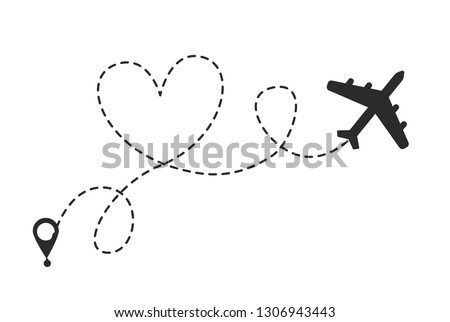 Airplane makes heart in the sky. Valentine day symbol. Romantic route. Hearted airplane path drawing.  Vector illustration