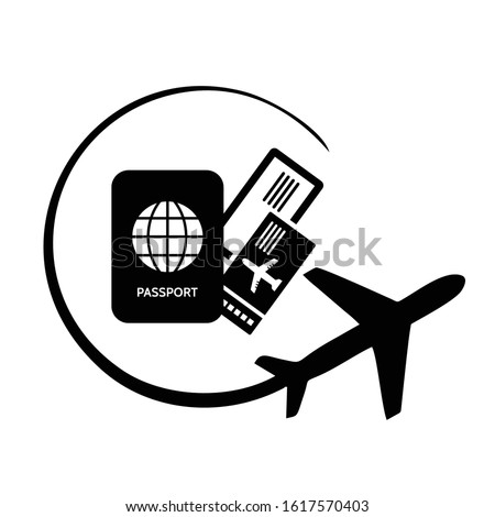 Airplane. Meal on bord. Airplane ticket icon black vector sign Photo stock ©