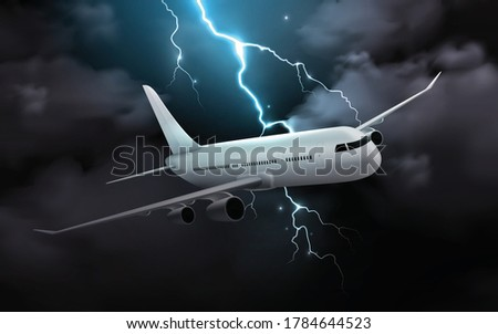 airplane night storm realistic