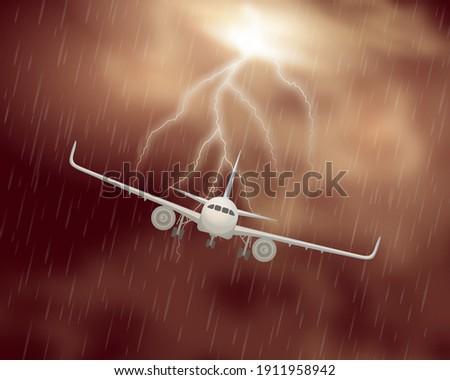 airplane night storm realistic