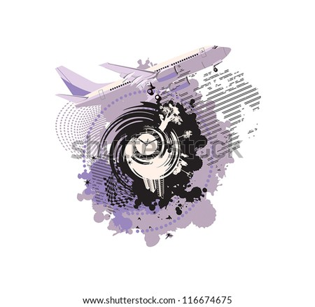 airplane on an abstract background with purple patterns