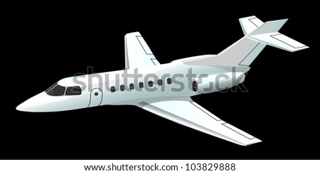 Airplane on black, vector, 10eps.