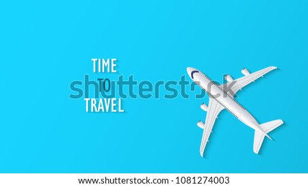Airplane on blue background with time to travel text, travel background, vector illustration