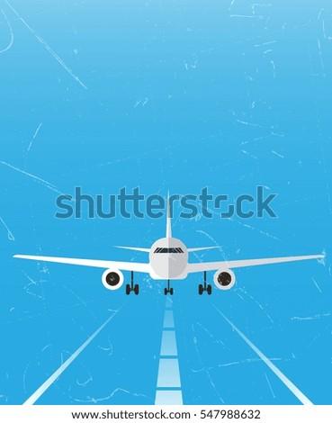airplane on runway theme grunge