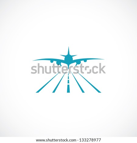Airplane on runway - vector illustration