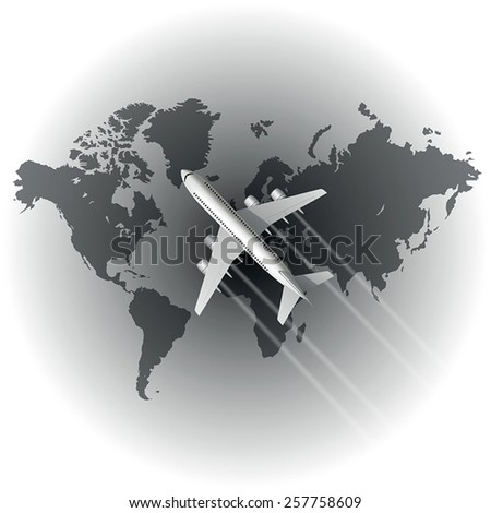 airplane over the world map