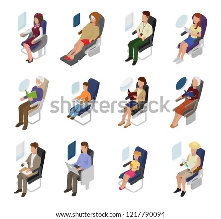 Airplane passenger vector people businessman woman character sitting in plane near window illustration flight set of person man kid on board seat travelling in aeroplane isolated on white background