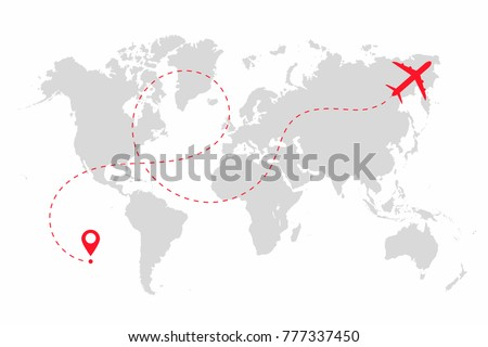 Airplane path in dotted line shape on world map. Route of plane with world map isolated on white background. Vector