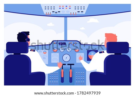 Airplane pilots at control panel navigating plane in cockpit. Vector illustration for travel, flight, job, crew concepts Сток-фото ©