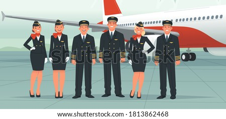 Airplane pilots, flight attendants, airline employees. The crew on the background of a passenger plane. Stewardesses and flight engineer, ship captain and co-pilot. Vector illustration in flat style