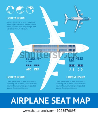 Airplane Plan Seat Map Card Place for Your Text Project Structure of Aviation Jet. Vector illustration of Plane