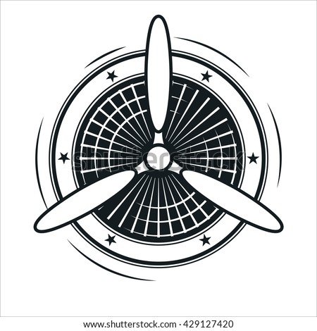 Airplane propeller emblem. Aviators club logo