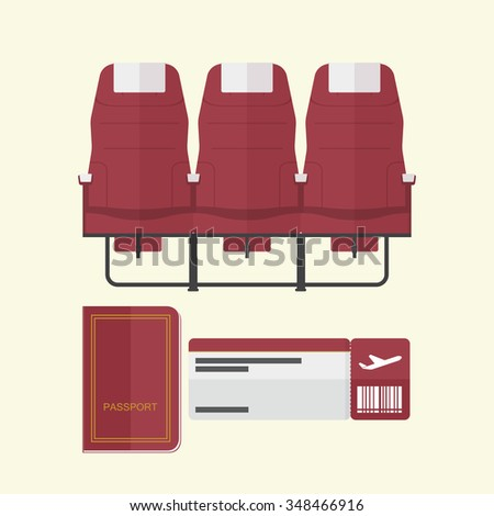 Airplane seat with passport and boarding pass in flat design .  Vector Illustration