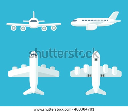 Airplane set in flat cartoon style. Top and bottom view, front view and profile. Vector illustration.