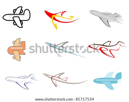 Airplane - set of isolated vector icons.
