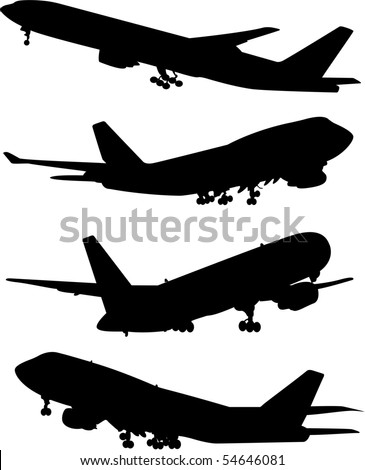 Airplane silhouettes collection