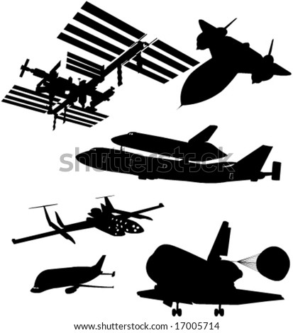airplane spaceshuttle rocket collection vector