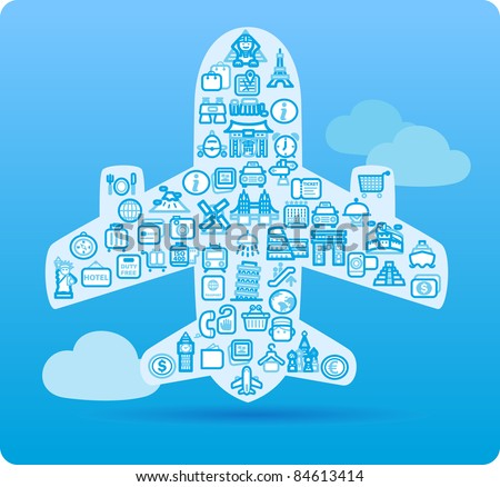 Airplane symbol made from small travel,landmark icons
