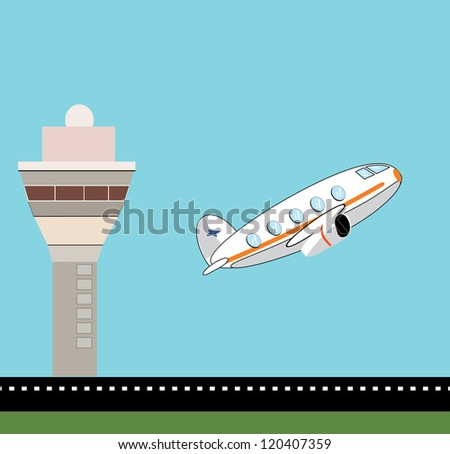 Airplane take off with control tower