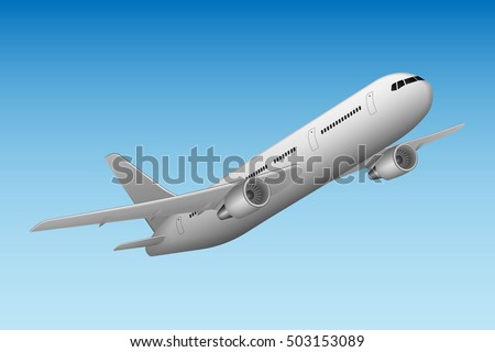 Airplane taking off isolated on blue sky. Realistic flying plane. Vector illustration high detailed commercial airplane. Airline Concept aircraft Travel Passenger planes set.