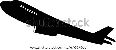 Airplane Taking Off Silhouette Isolated On White Background - Jumbo Jet Icon