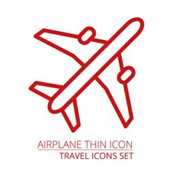 Airplane thin icon vector illustraiton EPS10 Part of travel vacation icons set
