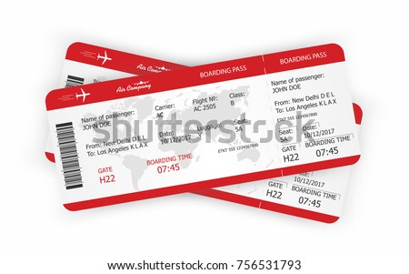 Airplane tickets. Boarding pass tickets template. Vector
