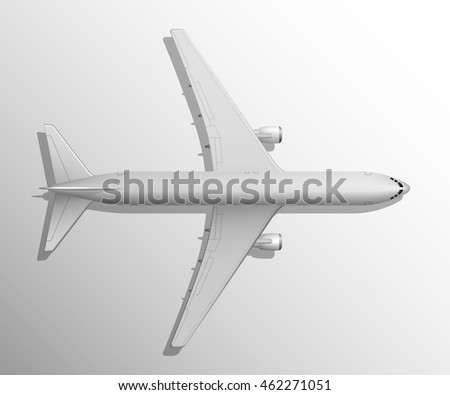 Airplane top view. Vector illustration high detaled airplane. Airline Concept Travel Passenger plane. Jet commercial airplane isolated on a white background.