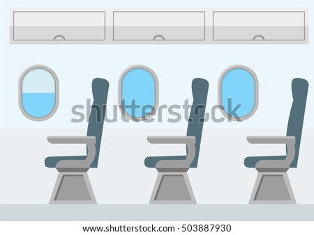 Airplane Transport Interior. Jet for Travel. Vector Flat Cartoon interior seats, cabin with portholes. blue color chairs and windows. Business class