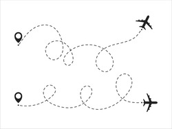 Airplane travel concept with map pins, GPS points. Airplane line path vector icon of air plane flight route with start point and dash line trace.