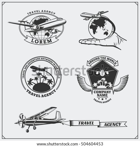 airplane travel labels  emblems