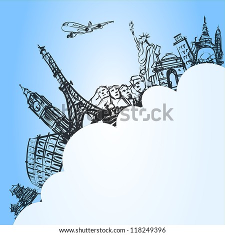 airplane traveling concept,vector